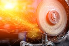 A young male welder cut metal royalty free stock image