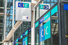 Close-up on the sign of an agency of CIC Royalty Free Stock Images