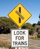 Close up sign look for trains Stock Image