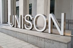 October 2017, Euston Road, London, A view of the sign outside the offices of one of the UK`s Trades Unions. Close up on the sign outside the Unison trades union Stock Images