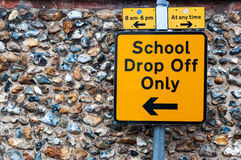 Close-up of sign for school drop off only Royalty Free Stock Photos