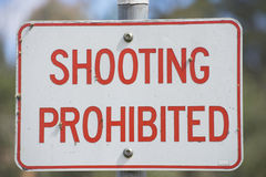 Close up Sign shooting prohibited outdoor Royalty Free Stock Photo