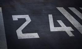 Close up of 24 Sign on Tenzing–Hillary Airport Runway, Lukla N. Epal royalty free stock image