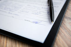 Close up of signed contract Royalty Free Stock Image