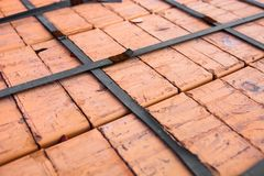 Close-up of the silicate bricks stack Royalty Free Stock Photo