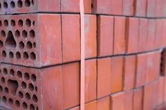 Close-up of the silicate bricks stack Stock Photos
