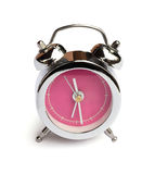 Close up silver alarm clock. On white background Stock Photo