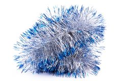 Close up silver and blue tinsel. Stock Images
