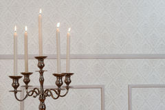 Close up silver candelabra Royalty Free Stock Images