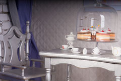 Close Up of Silver Dining Room Table Set for Tea Royalty Free Stock Images