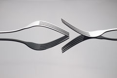 Close up Silver fork. Close up Silver metal fork Royalty Free Stock Image