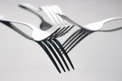 Close up silver fork on table. Close up silver fork on desk Royalty Free Stock Photo