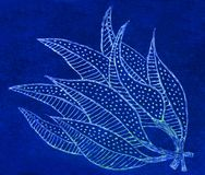 Hand drawn gel pen picture of leaves Stock Photography