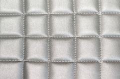 Close up Silver gray Stitched  Leather texture background Royalty Free Stock Image