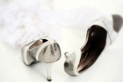 Close-up of silver high heel shoes Stock Images