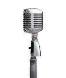 Close up of silver mic. Rophone, isolated on white. Concept of music and arts stock photo