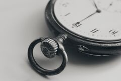 Free Close Up Silver Old Pocket Watch. Vintage Timepiece. Antique Concept. Royalty Free Stock Image - 185879236