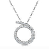 Close-up silver pendant with a diamonds on a chain Royalty Free Stock Photo