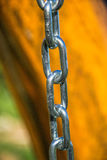Close up of silver steel chain link Royalty Free Stock Image