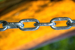 Close up of silver steel chain link Royalty Free Stock Photo