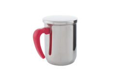 Close-up of silver thermos mug and Handle Red isolated on white Royalty Free Stock Images