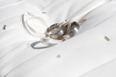Close-up of silver wedding rings Stock Photo