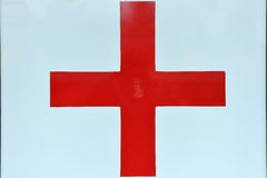 Close up of sing with red cross, healthcare, medicine. Symbols c Stock Image