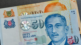 Singapore banknote dollar SGD. Close-up of Singapore banknotes dollars 50-100 SGD. As of 2016, the Singapore dollar is the twelfth most traded currency in the Royalty Free Stock Photos