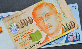 Singapore banknote dollar SGD. Close-up of Singapore banknotes 50-100 SGD. Singapore has a highly developed and successful free-market economy Stock Photography