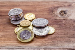 Close up Singapore Dollars coins. On the table Stock Photography