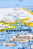 Close up of Singapore on map. A close up shot of Singapore on map, asia stock photography
