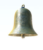 Close up of single bell. Close up of single metallic colored bell, white background royalty free stock photo