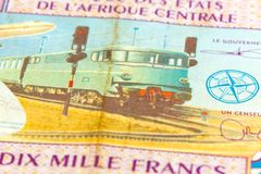 Close-up of a single 10000 central african CFA franc bank note. Obverse, specimen royalty free stock photos