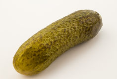 Close up of single cucumber pickle isolated on white Stock Images