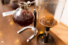 Close up of siphon vacuum coffee maker at shop Stock Photo