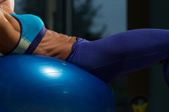 Close-up Of A Sit Ups On Exercise Ball Royalty Free Stock Photography