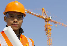 Close up site manager with safety. Vest under construction Royalty Free Stock Photos