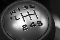 Close up of a  six speed gear shift stick Stock Image