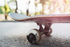 Close up skateboard, sport equipment background. Summer extreme sport challenge and training, skateboarder competition Stock Image