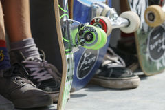 Close-up of skateboard wheels Stock Photo