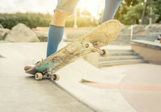 Close up on a skater performing tricks Stock Images