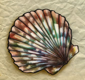 Close up sketch of a sea shell. Hand drawn pencil sketch of a sea shell with pattern of colorful stripes and spots. On crumpled paper background Stock Photo
