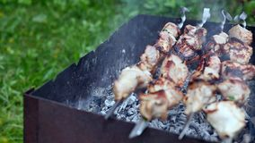 Close up skewers on grill at bbq event outdoor. Marinated meat grilling on smoking grill on green grass background. Cooking bbq fr. Esh meat at summer picnic stock video footage