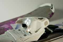 Close Up Ski Binding. With ski on background Stock Photography