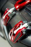 Close Up Ski Boot. Close Up of Red Ski Boot Binding Royalty Free Stock Photos