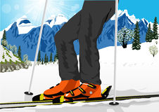 Close up of ski low angle Royalty Free Stock Image