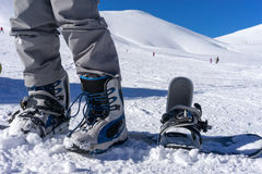 Close up of ski shoes on a skier Royalty Free Stock Photography