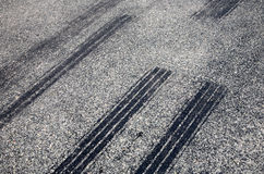 A close up of skid marks. A close up of skid marks on a road Royalty Free Stock Photos