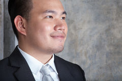 Close up skin on face of young asian business man looking to for Royalty Free Stock Photos