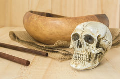 Close up Skull with empty bowl with chopstick Royalty Free Stock Image